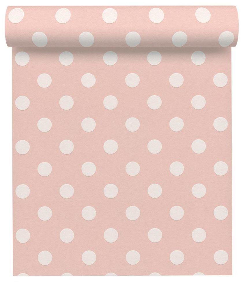 Tapeta w białe kropeczki KROPKI różowa winylowa na flizelinie