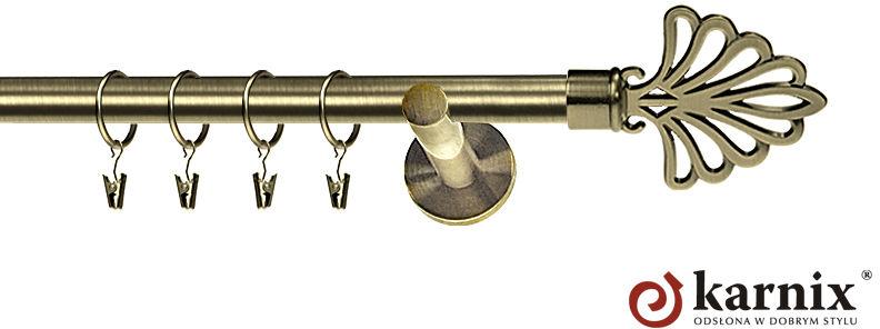 Karnisz nowoczesny NEO pojedynczy 16mm Wachlarz antyk mosiądz