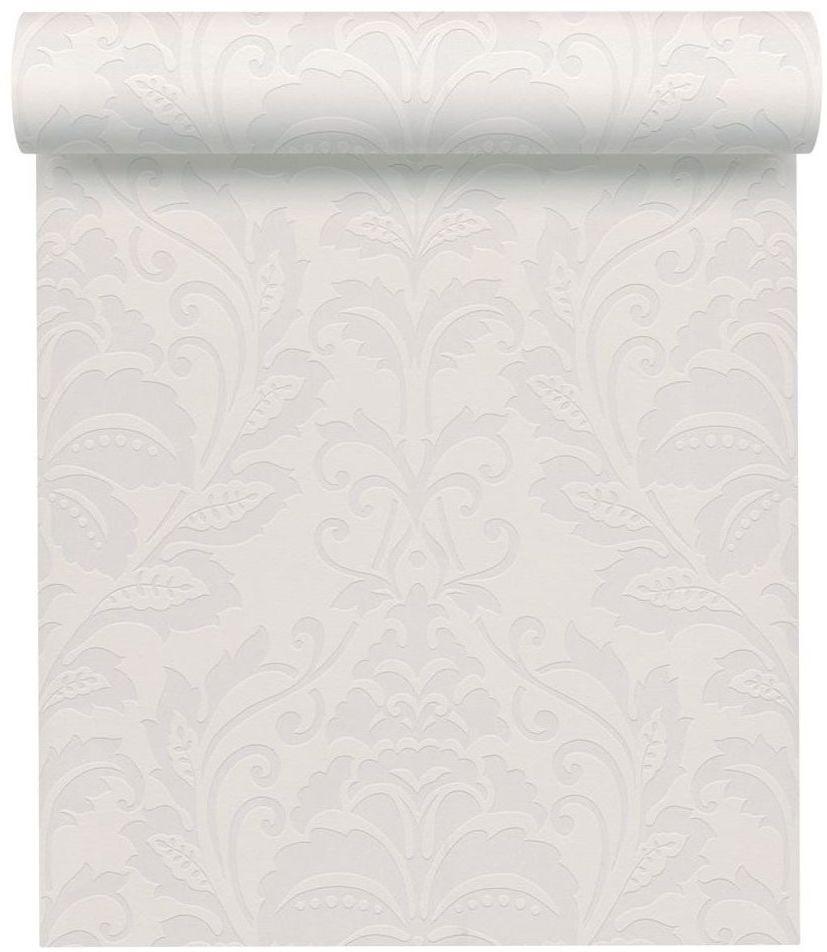 Tapeta z klasycznym wzorem biała winylowa na flizelinie