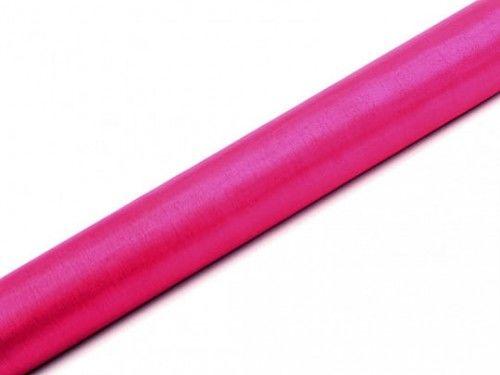 Organza gładka, ciemno różowa, szeroka