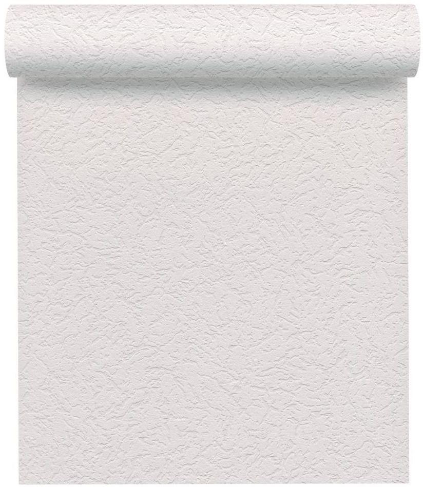 Tapeta jednobarwna ze strukturą biała papierowa