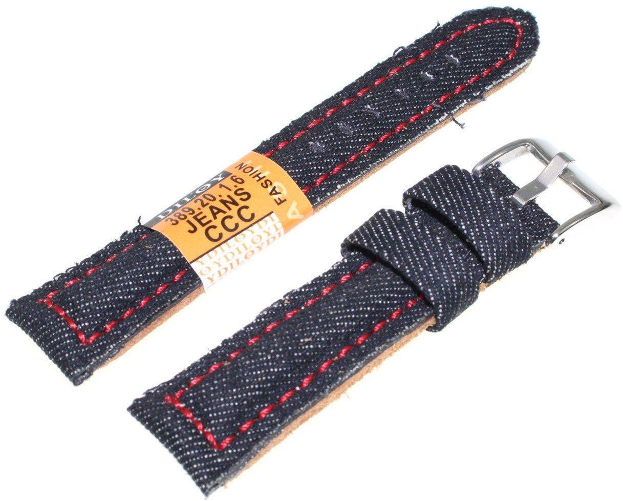 Skórzano-dżinsowy pasek do zegarka 20 mm Diloy 389.20.1.6