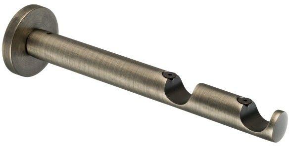 Wspornik karnisza podwójny prosty 19 mm stal antyczna