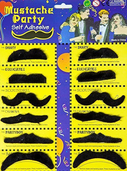 FUNTOYS 12 kolorowych wąsów  karta do brody z 12 wąsami, czarna, dla dorosłych, karnawał