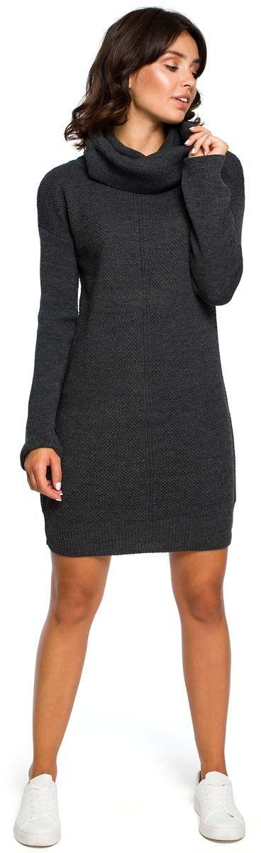 Grafitowy Długi Sweter- Sukienka z Szerokim Golfem
