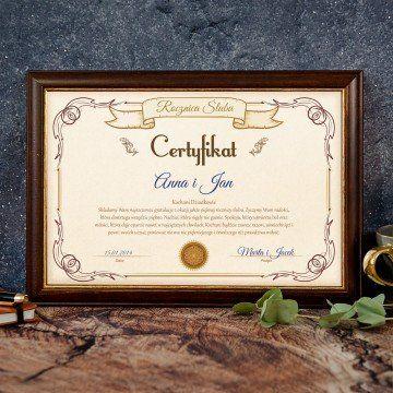 Certyfikat - Rocznica Ślubu Dziadków
