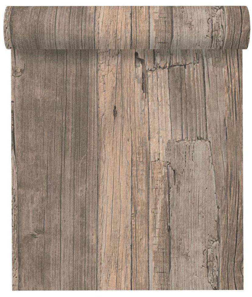 Tapeta Drewno brązowa imitacja deski winylowa na flizelinie