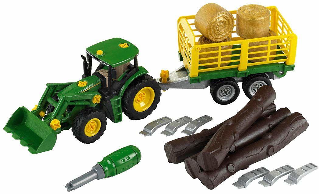 Theo Klein 3906 Traktor John Deere z wózkiem na siano i drewno I Zestaw śrubek wraz ze śrubokrętem I Wymiary: 47 cm x 10,5 cm x 12 cm I Zabawki dla dzieci od 3. roku życia
