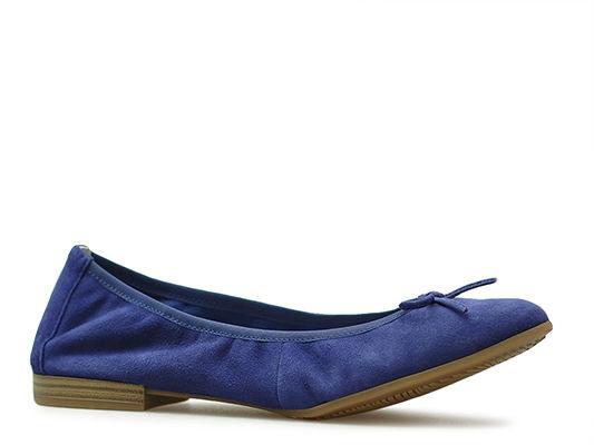 Baleriny Tamaris 1-22166-32 Niebieskie zamsz