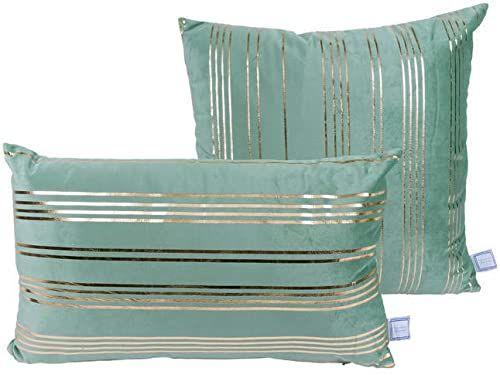 Poduszka dekoracyjna Prisma 500 zestaw 2 miętowa / złota