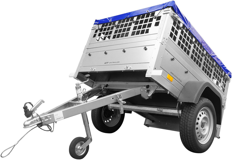 Mini przyczepka samochodowa GARDEN TRAILER 150 KIPP z kołem podporowym, burtami siatkowymi i pokrowcem płaskim niebieskim