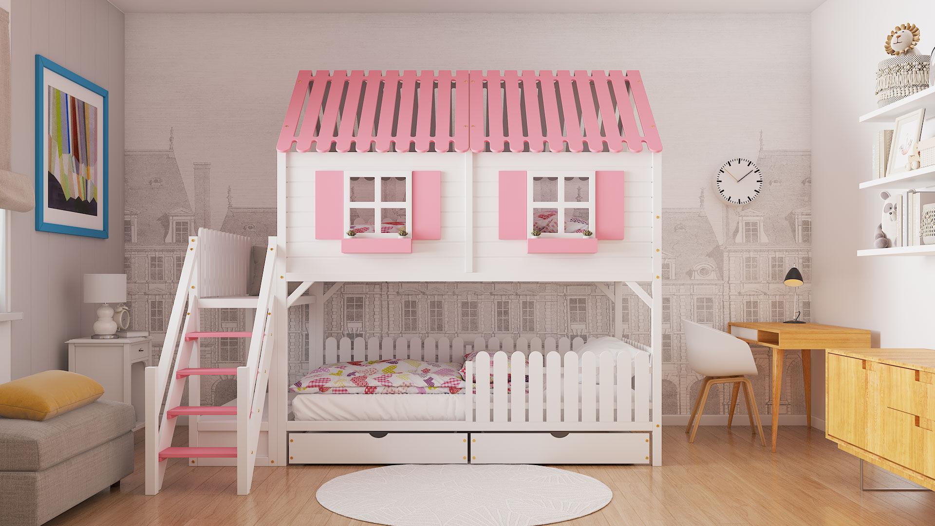 Łóżko piętrowe domek GABY