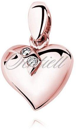 Srebrna pozłacana zawieszka pr.925 serce ozdobione dwoma cyrkoniami - różowe złoto