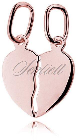 Srebrna pozłacana zawieszka pr.925 serce łamane dla par do grawerowania - różowe złoto