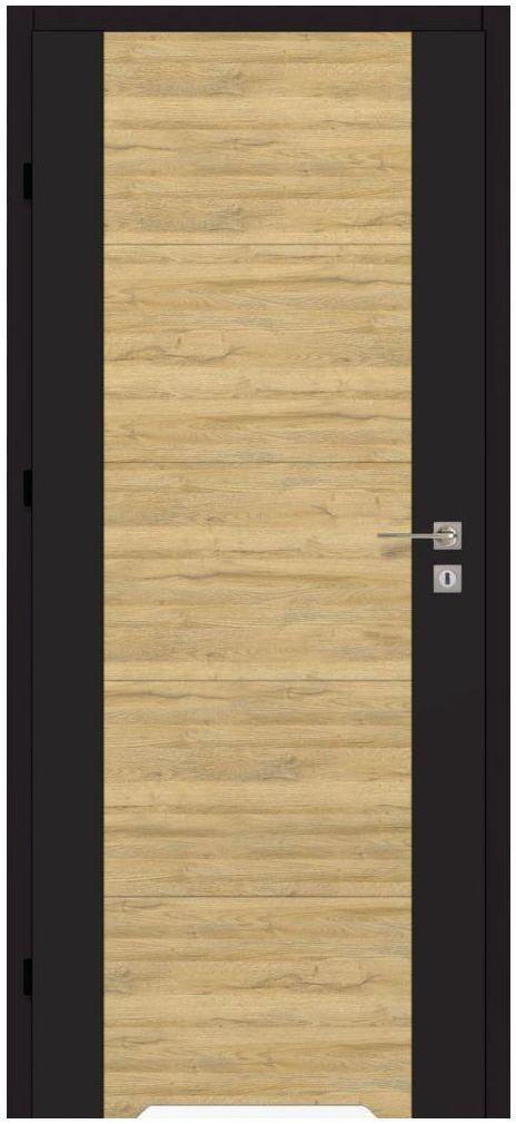 Skrzydło drzwiowe DUAL Czarny mat/Dąb bawarski 80 Lewe ARTENS