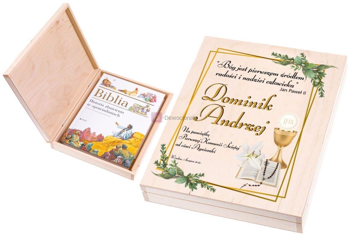 Biblia [do wyboru] w pudełku EKO  z nadrukiem UV - I Komunia Święta