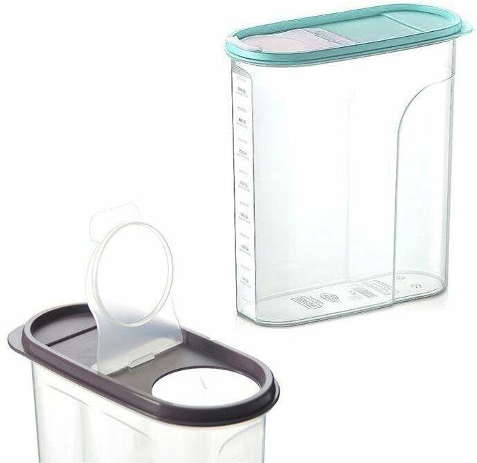 Pojemnik kuchenny na żywność płatki kasze makaron mąkę cukier produkty sypkie z dozownikiem i miarką 4 l