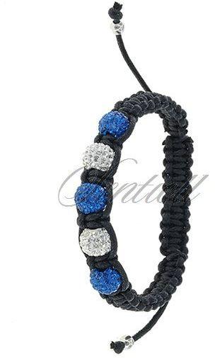 Bransoletka sznurkowa pr.925 Niebiesko-biała 5 kulek klasyczna