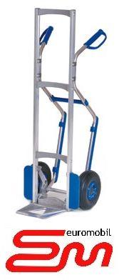 Wózek dwukołowy ręczny aluminiowy taczkowy PISTOL PŁOZY (półka zawiasowa) MODULKAR