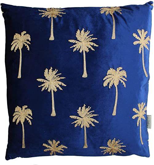 Ozdobna poduszka z wypełnieniem  aksamit  niebieska  60 x 60 cm