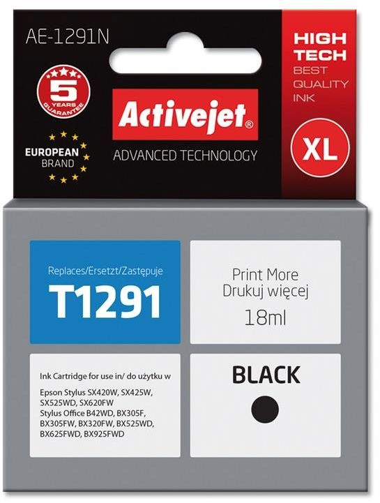 Tusz Activejet AE-1291N (zamiennik Epson T1291; Supreme; 18 ml; czarny)