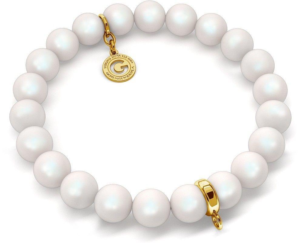 Elastyczna srebrna bransoletka perły Swarovski 925 : Perła - kolory - SWAROVSKI PEARLESCENT WHITE, Srebro - kolor pokrycia - Pokrycie żółtym 18K złotem