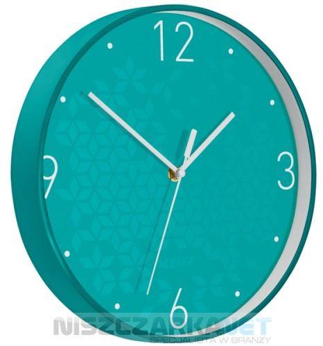 Cichy zegar ścienny Leitz WOW TURKUSOWY średnica 29 cm