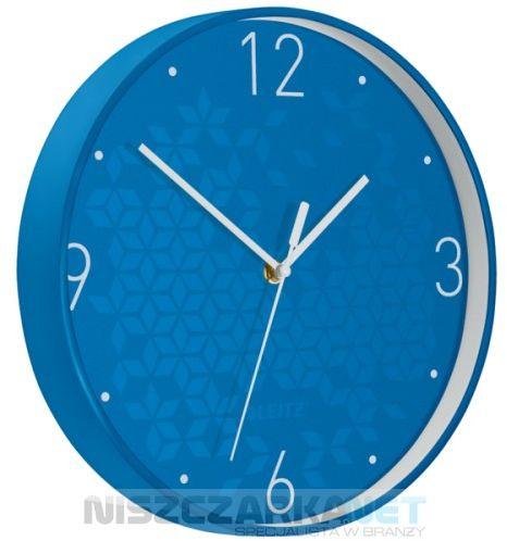 Cichy zegar ścienny Leitz WOW NIEBIESKI średnica 29 cm