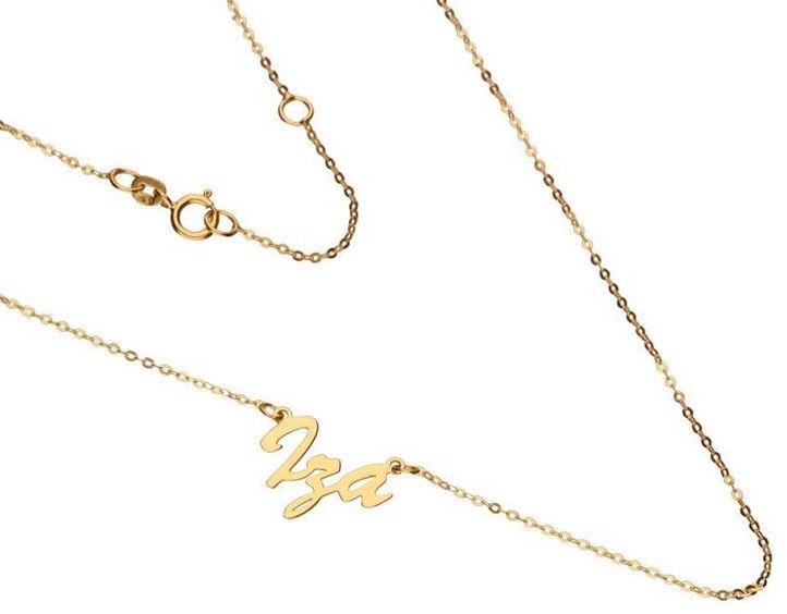 Złoty naszyjnik 333 łańcuszek imię Iga 1,20 g