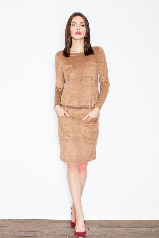 Brązowa prosta midi sukienka z paskiem z eko-skóry