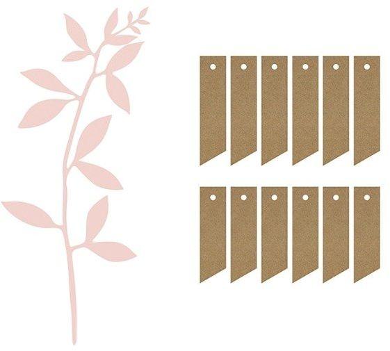Dekoracja Gałązki z listkami pudrowy róż i bilecikami 6 sztuk DGPZ1-081P