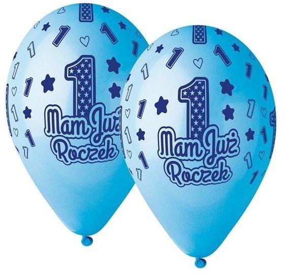 Balony Mam już roczek 5 sztuk niebieskie GS120/MJRN