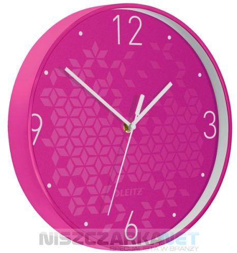 Cichy zegar ścienny Leitz WOW RÓŻOWY średnica 29 cm