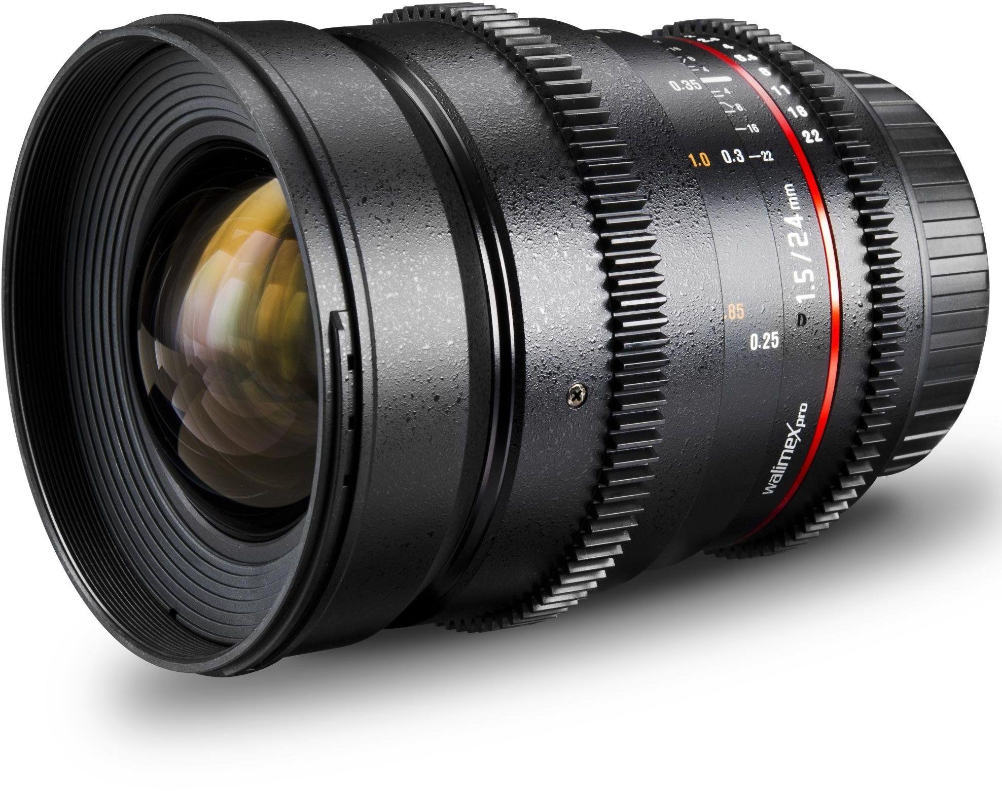 Walimex Pro 24 mm 1:1,5 VDSLR obiektyw fotograficzny i wideo do bagnetów Nikon F czarny (ręczne ostrość, do pełnoklatkowego czujnika, średnica filtra 77 mm, bezstopniowa regulacja przysłony)
