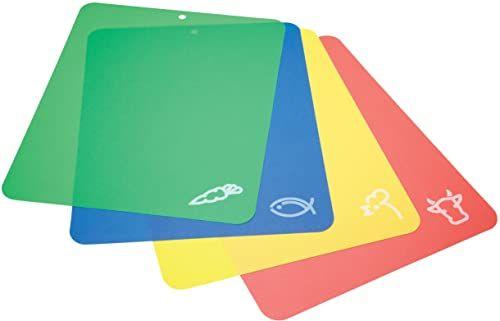 KitchenCraft elastyczne deski do krojenia z kodami kolorystycznymi, 38 x 30 cm (zestaw 4 sztuk) - wielokolorowe
