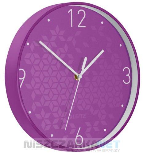 Cichy zegar ścienny Leitz WOW FIOLETOWY średnica 29 cm