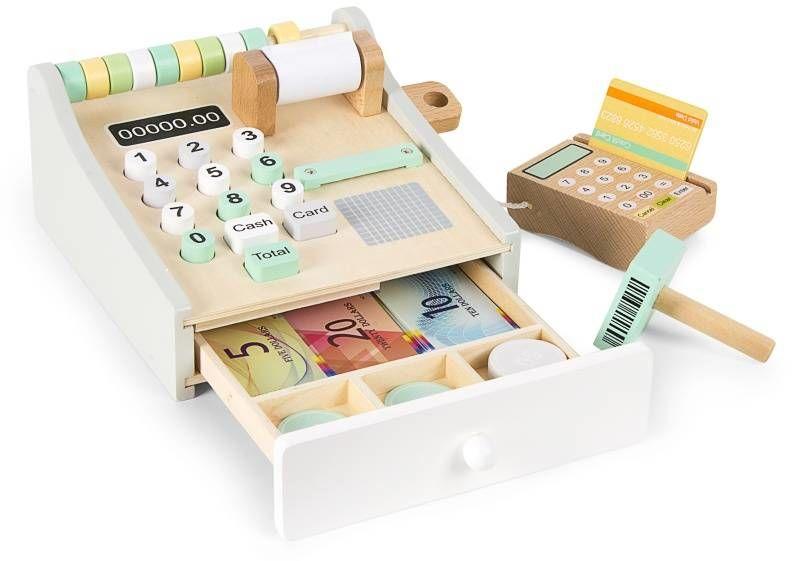 Drewniana kasa dla dzieci z czytnikiem kart 246256 Daisy, zabawa w sklep