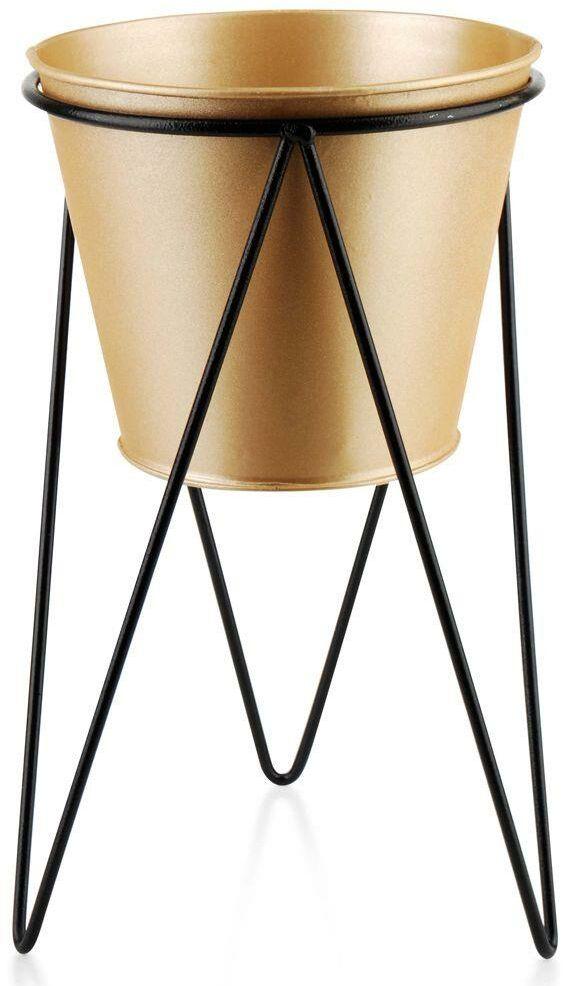 Osłonka doniczka metalowa na stojaku złota czarna na rośliny kwiat 15x26 cm