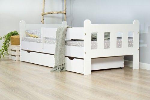 Łóżko 140x80cm Nightingale pojedyncze z szufladą kolor biały