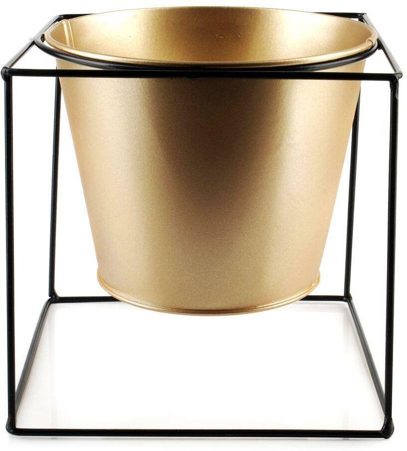 Osłonka doniczka metalowa na stojaku złota czarna na rośliny kwiat 16x16 cm