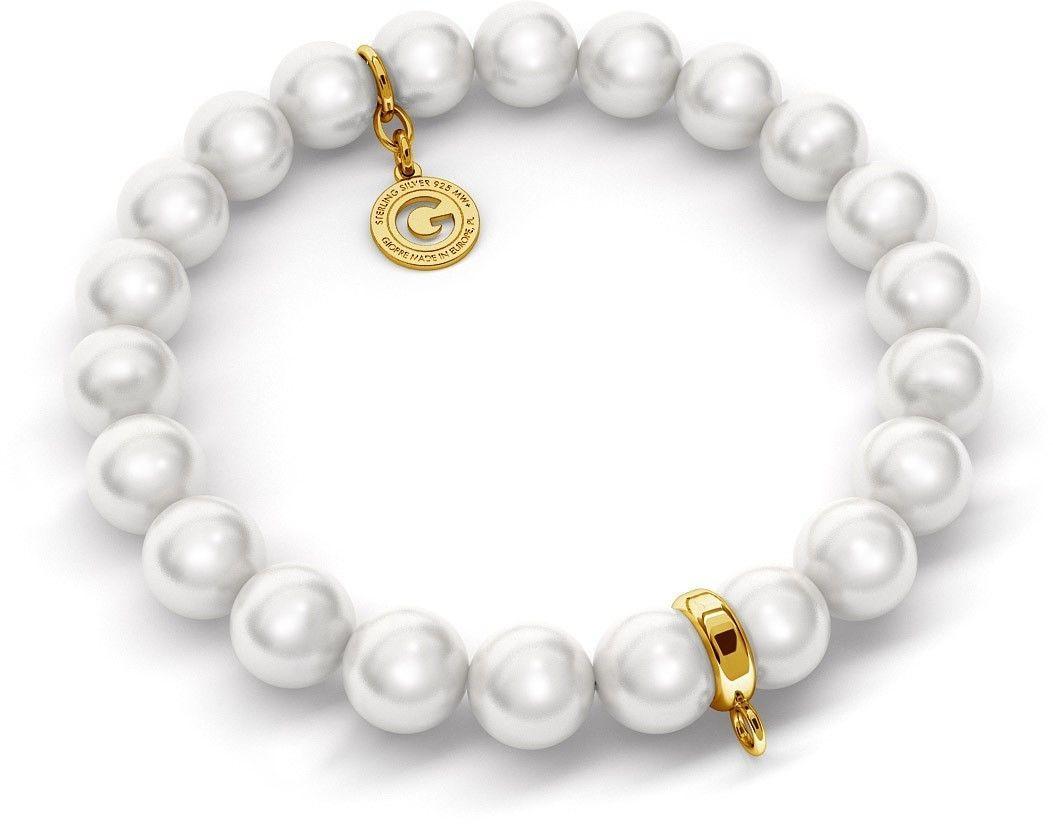 Elastyczna srebrna bransoletka perły Swarovski 925 : Perła - kolory - SWAROVSKI WHITE, Srebro - kolor pokrycia - Pokrycie żółtym 18K złotem