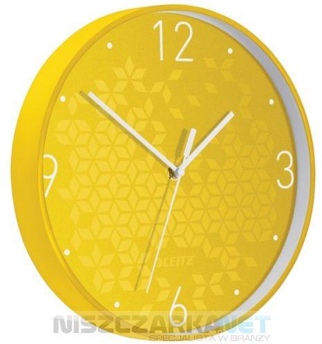 Cichy zegar ścienny Leitz WOW ŻÓŁTY średnica 29 cm