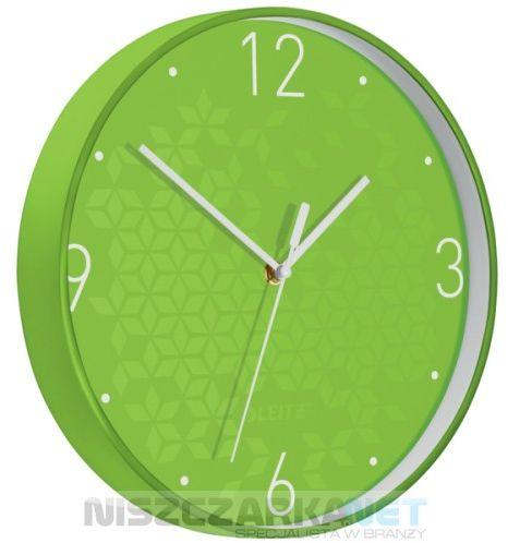 Cichy zegar ścienny Leitz WOW ZIELONY średnica 29 cm