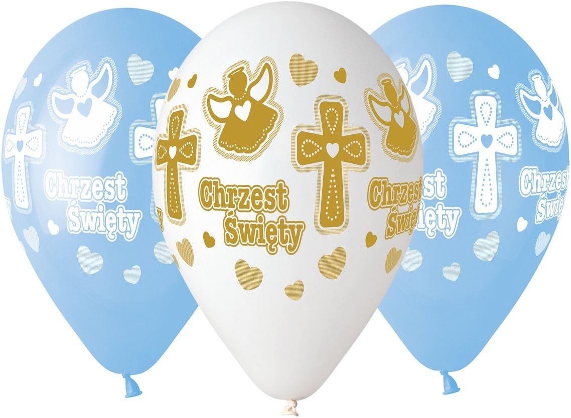 Balony na chrzest dla chłopca - 33 cm - 5 szt.