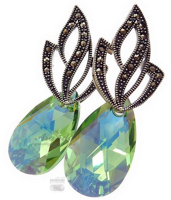 Kryształy kolczyki PERIDOT ADMIRE SREBRO