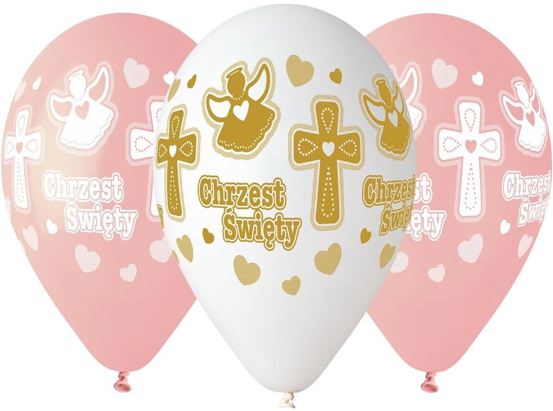 Balony na chrzest dla dziewczynki - 33 cm - 5 szt.