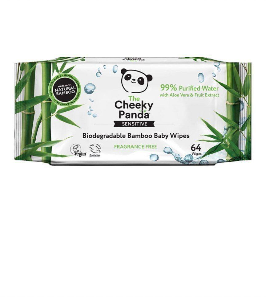 THE CHEEKY PANDA Nawilżane chusteczki bambusowe dla dzieci 64 sztuki - 99% woda, 1% wyciąg z aloesu i owoców