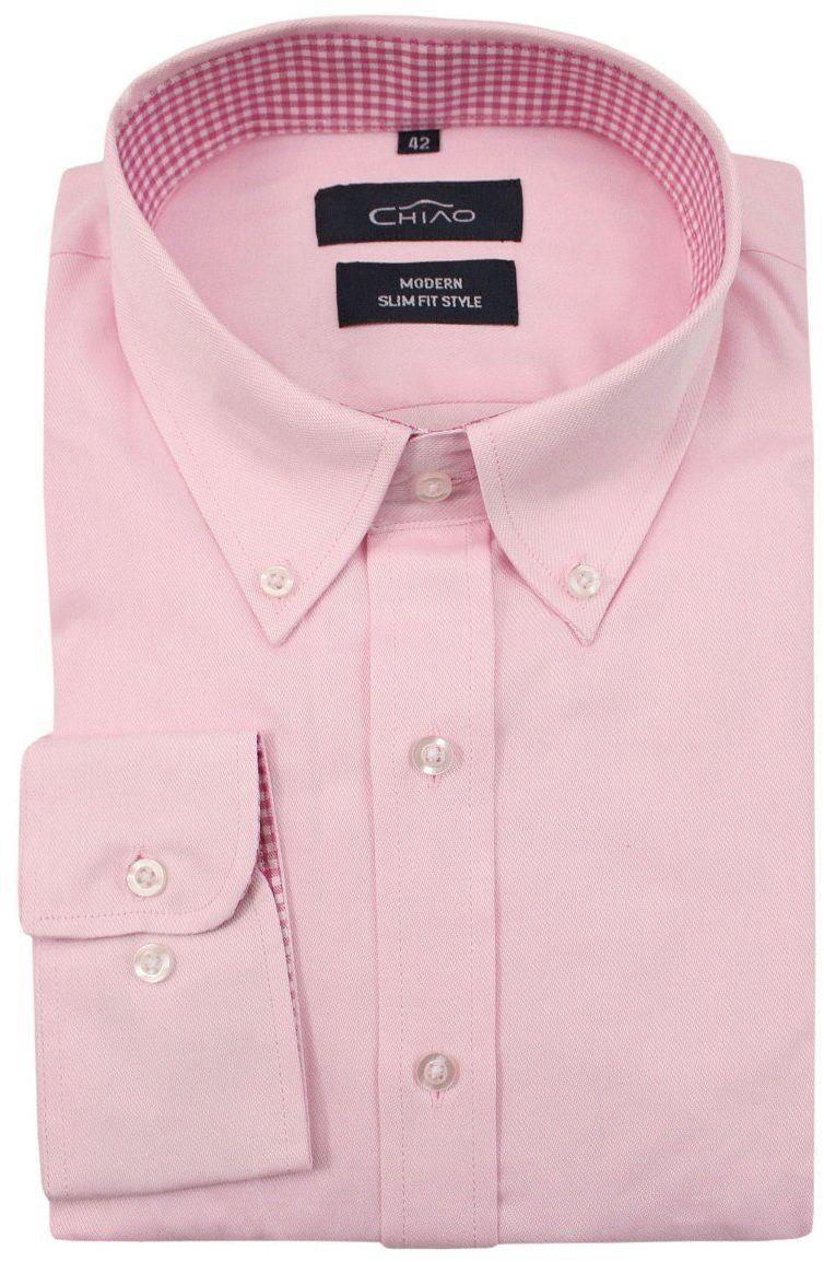 Różowa Koszula Męska z Długim Rękawem, 100% Bawełna -CHIAO- Taliowana, z Guzikami przy Kołnierzyku KSDWCHIAOM5E03C