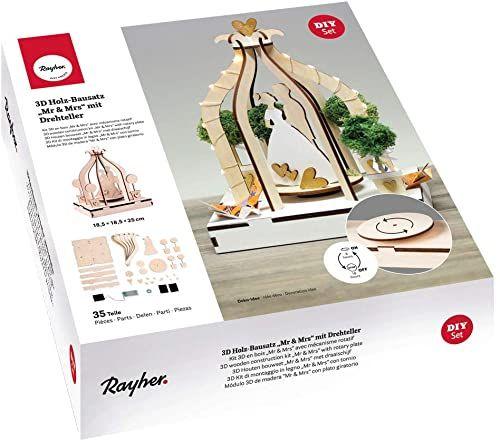 Rayher 63143505 drewno 3-D zestaw do montażu Mr&Mrs, FSCMixCred, naturalny, 18,5 x 18,5 x 25 cm, talerz obrotowy, 35-częściowy, pudełko