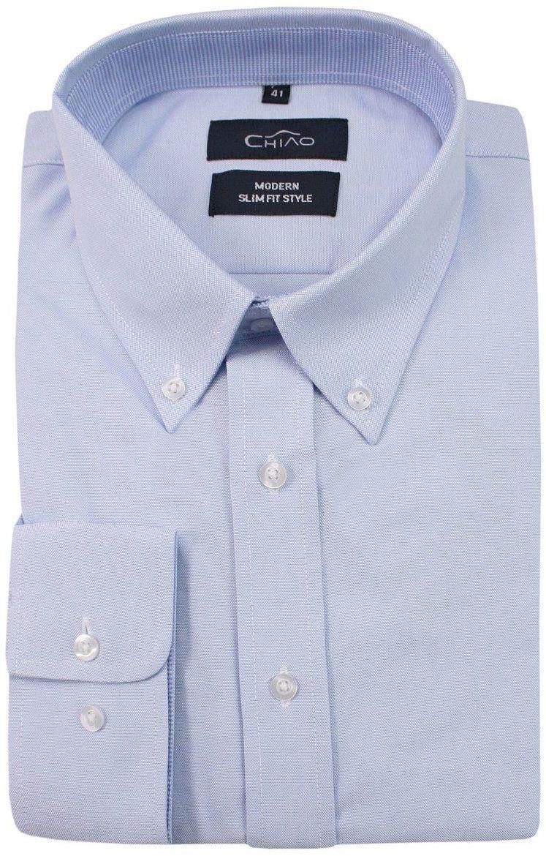 Niebieska Koszula Męska z Długim Rękawem, 100% Bawełna -CHIAO Taliowana, z Guzikami przy Kołnierzyku KSDWCHIAOM5B01C